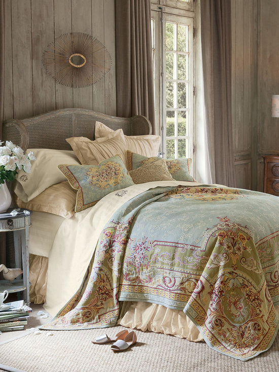 Regency Tapestry Coverlet - Dress your bed in regal splendor. Recalling the lavish beauty of Italian renaissance textiles, our stunning tapestry collection centers a floral medallion on a sky blue ground sprinkled with flowers and framed with Florentine scrolls. Rendered in opulent shades of blue, gold, chartreuse and blush, this work of art for the bed is exquisitely crafted of pure cotton in the traditional Flemish style of weaving. The coordinating sham is edged with braided cording and has a hidden zip closure.