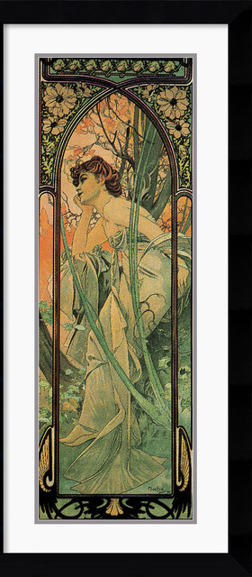 Soir (Evening) Framed Print by Alphonse Mucha traditional-prints-and-posters