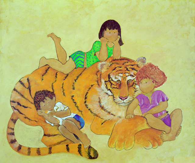 "Theodore Tiger from the Little Ones Collection, 34""w X 32""h X 1.5""d Print on Can - Contemporary ..."