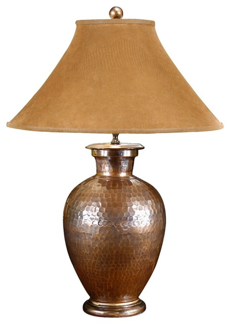 Copper hand hammered pot buffet table lamp traditional table lamps