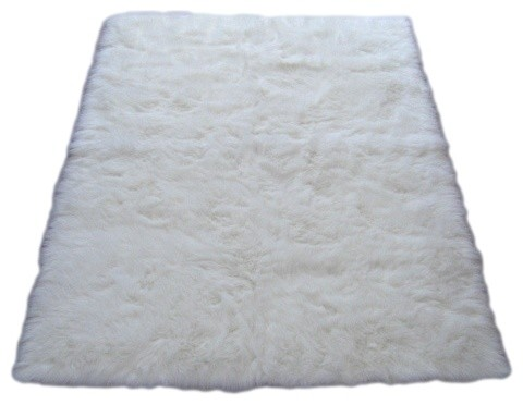 "Snowy White Polar Bear Rectangle - White Sheepskin Faux Fur Rug (28""x43"") midcentury-rugs"