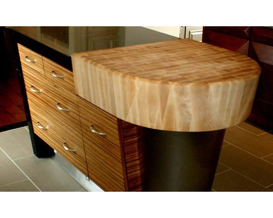 Maple Butcherblock Countertop with Arc and Bevel Cut Edge. Design by Chervin Woo - http://www.glumber.com/