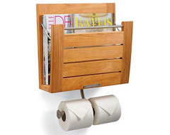 Brown Wall Mount Magazine Rack contemporary-magazine-racks