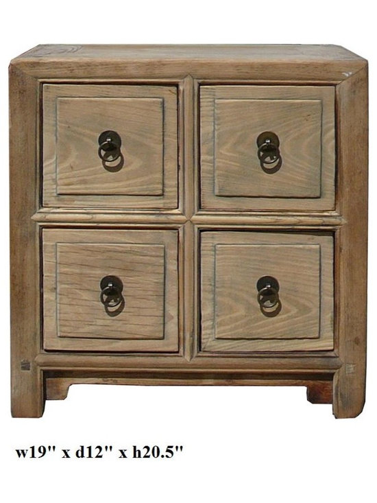Chinese Raw Natural Wood 4 Drawer Small Chest - This is a simple end table / side table made of natural rustic raw wood with four drawers.