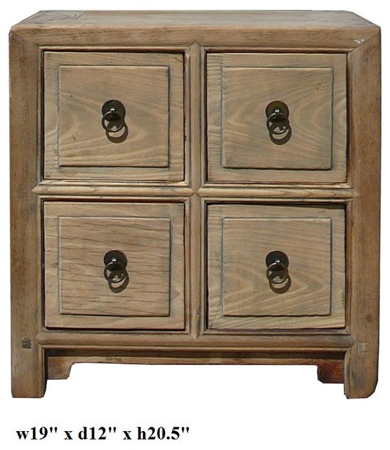 Chinese Raw Natural Wood 4 Drawer Small Chest - tropical - side