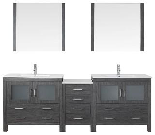 dior 90 double bathroom vanity cabinet set in zebra grey. Black Bedroom Furniture Sets. Home Design Ideas