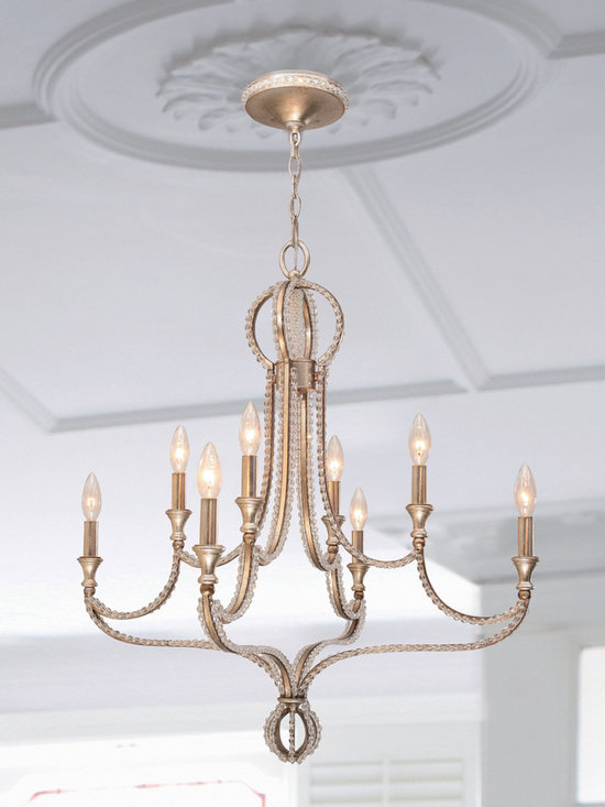 "Garland Collection 8-Light 28"" Distressed Twilight Chandelier with Hand Cut Crys - Mixing metals is very hot in fashion right now, and we've done that in Garland by foiling silver over gold. This gives the collection an antique, yet contemporary feel and tremendous versatility to work in a variety of decors. The hand cut oval beads create a perfect marriage with the wrought iron frame which in turn dresses the frame from daytime to nightime. The Distressed Twilight finish from Crystorama is a perfect blend of silver and gold."