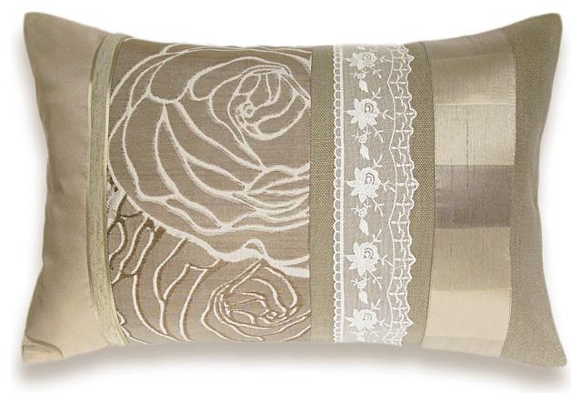 Modern Pillow Case Designs : Ivory Cream Beige Lumbar Pillow Case OOAK 12 x 18 in IRMA DESIGN