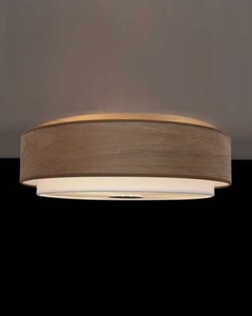 Modern Drum Ceiling Lights : Drum shape textured linen wood veneer flush mount modern