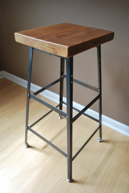 Reclaimed Wood Bar Stools ~ Reclaimed wood and steel industrial shop stool by urban