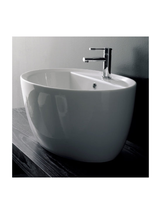 "Scarabeo - Trendy Oval White Ceramic Built-In Bathroom Sink - Trendy oval shaped built-in bathroom sink designed and manufactured in Italy by Scarabeo. Contemporary above counter sink made of high quality white ceramic. Includes a single faucet hole and overflow. Sink dimensions: 26.40"" (width), 18.10"" (depth)"