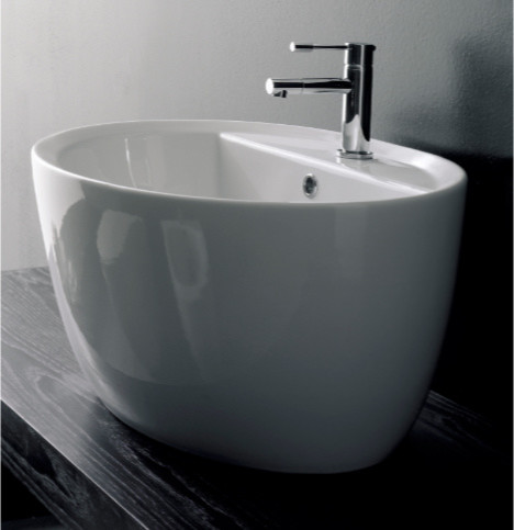 Trendy Oval White Ceramic Built-In Bathroom Sink contemporary-bathroom-sinks