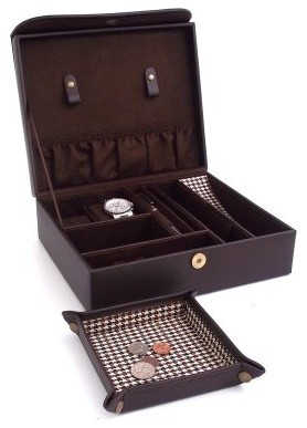 Brown Leather & Houndstooth Valet Case with Travel Valet - 10.35W x 3.5H in. modern-home-decor