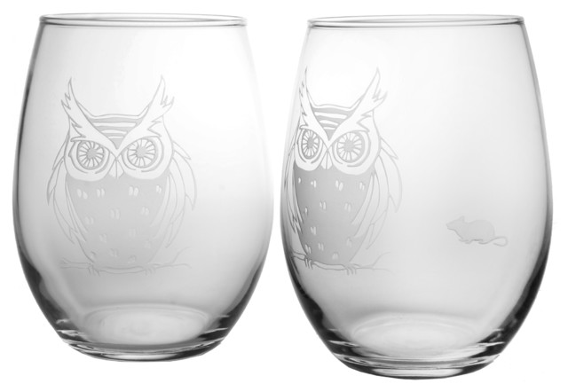 Owl Red Wine Tumbler, 21oz, Set of 2 contemporary-wine-glasses