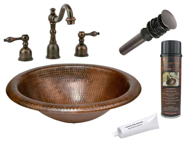 Wide Rim Oval Self Rimming Sink w/ ORB Faucet rustic-bathroom-sinks