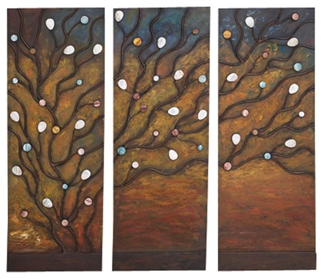 Metal Hand Painted Class Apart Abstract Wall Decoration - Set of 3 modern-outdoor-holiday-decorations