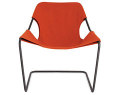 Paulistano Armchair, Canvas, Orange/Black contemporary-chairs