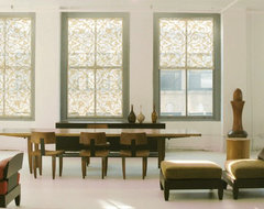 Delia Shades Custom Solar Shades in Italian Arabesque pattern contemporary dining room