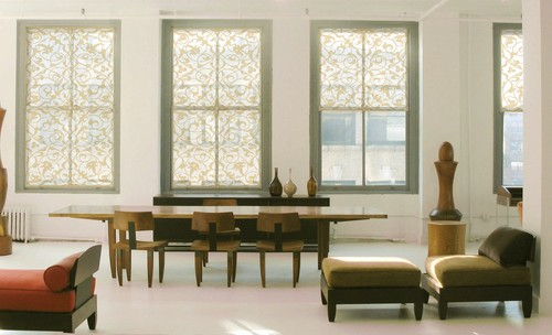 Houzz Photos 1247271 Delia Shades Custom Solar In Italian Arabesque Pattern Contemporary Dining Room New York