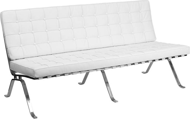 Hercules Flash Series White Leather Sofa With Curved Legs