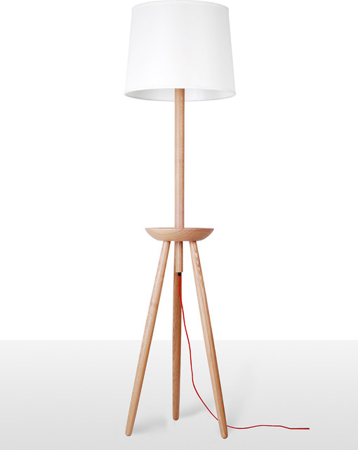 tripod with platform wood base floor lamp