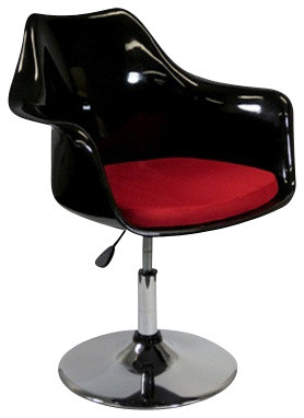 Eero Saarinen Tulip Style Arm Chair Black with Adjustable Chrome Base contemporary-armchairs-and-accent-chairs