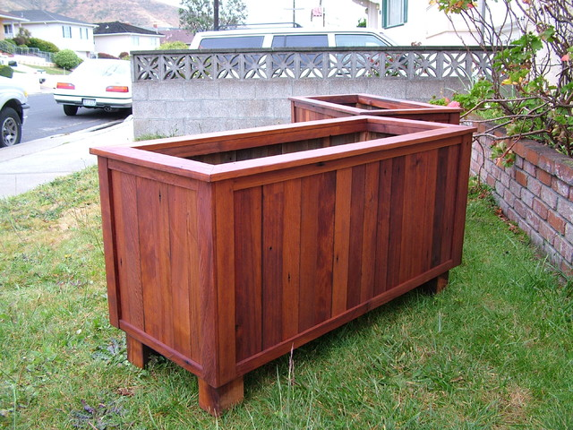 Examples of Custom Redwood Planters traditional-outdoor-planters