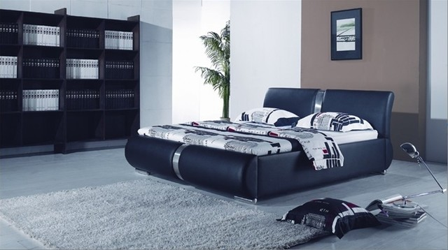 Modern Black Leather Platform Bed With Polished Chrome Legs and Accents
