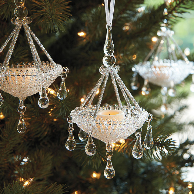 Set of four glass chandelier ornaments traditional for Hanging ornaments from chandelier