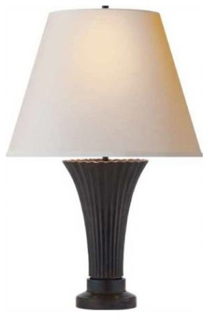 Visual Comfort TOB3092BZ-NP Didier Petit 2 Light Table Lamp in Bronze with Natur modern-table-lamps