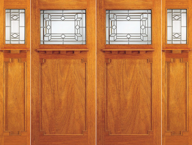 Mission Style Mahogany Double Door And Two Sidelites