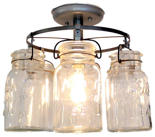 Vintage Mason Jar Ceiling Light - Farmhouse - Ceiling ...