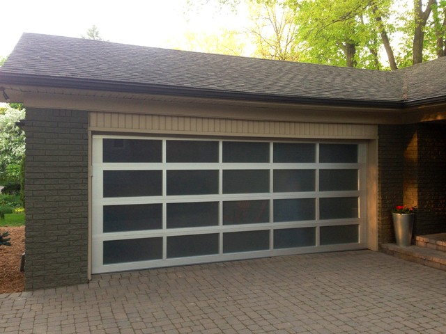 full view glass garage door modern garage and shed