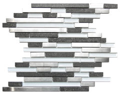 Modern Random Mix Steel - Glass - Ceramic I, Sample contemporary-tile