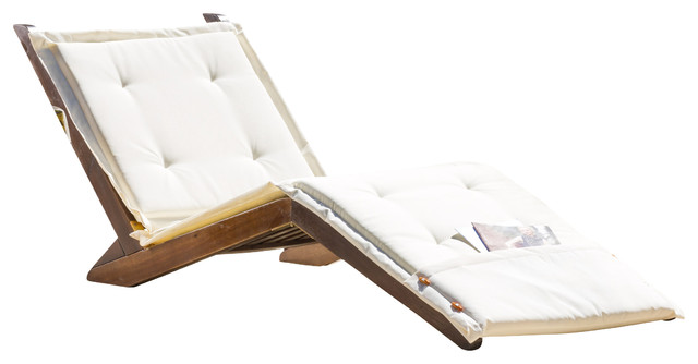 Midori Mahogany Wood Folding Chaise Lounger Chair w Cream Cushion Contempo