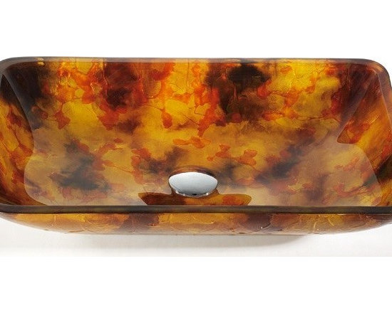 "Kraus GVR-420-RE Amber Rectangular Glass Vessel Sink - APPLY COUPON CODE ""EDHOUZ20"" AT CHECKOUT. JUST OUR WAY OF SAYING THANKS."