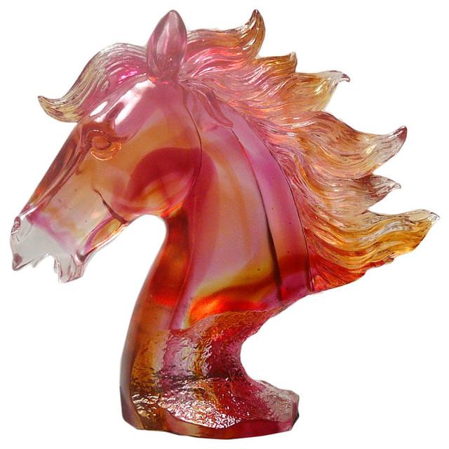 Chinese Red Liuli Crystal Glass Pate-de-verre Horse Head Figure asian-sculptures