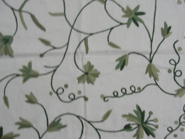 Crewel Fabric Butterflies on Vines Green  on Off White Cotton Duck craftsman-upholstery-fabric