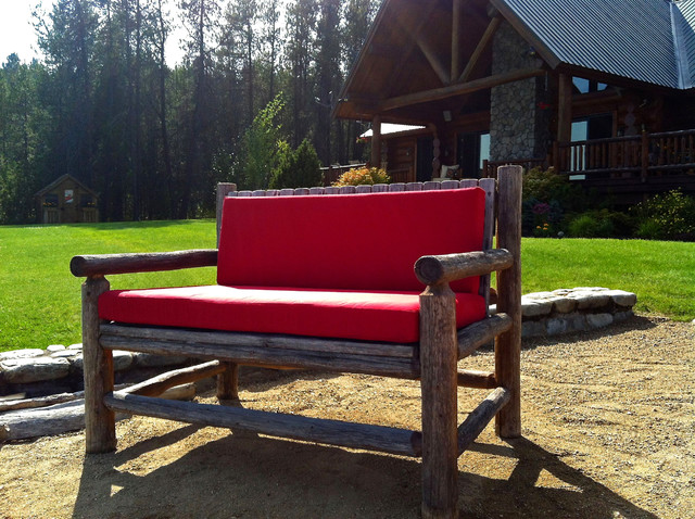 Jockey Red Bench Cushion on Log Bench traditional-outdoor-cushions-and-pillows