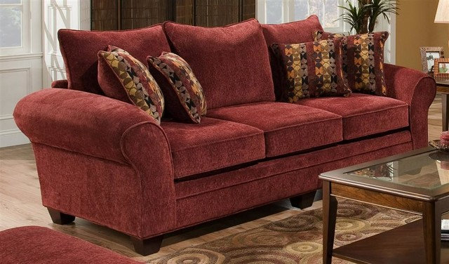 Upholstered Sofa in Burgundy Contemporary Sofas by