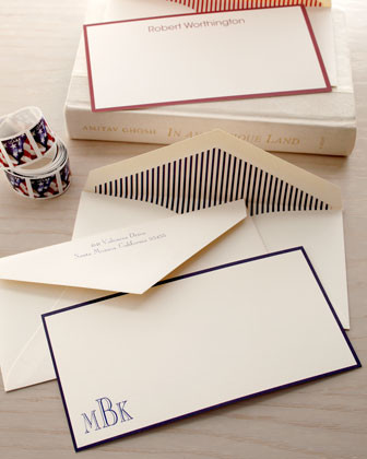 50 Border Correspondence Cards/Personalized Envelopes traditional-desk-accessories