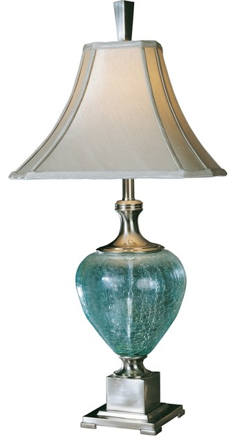 Contemporary Uttermost Blue Green Crackle Glass Table Lamp contemporary-table-lamps