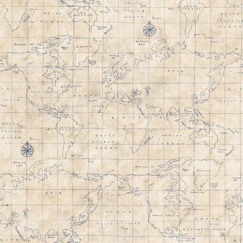 Allen + Roth Blue Grid Map Wallpaper