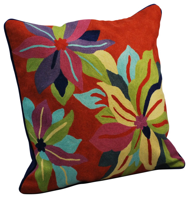 Contemporary Crewel Pillow : Crewel Work Pillow With Poinsettia Design, Red - Eclectic - Decorative Pillows - by Modelli ...