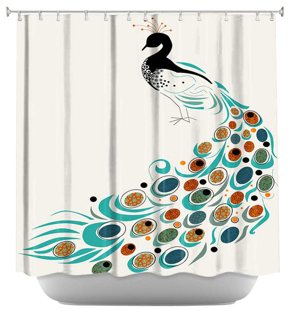 Shower Curtain Artistic Peacock Ii Contemporary
