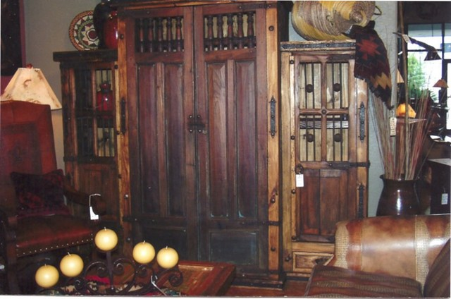 Armoire & Flanking Bookcases Entertainment Center traditional
