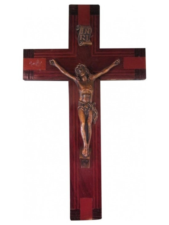 Folksy Inlaid Wood Crucifix - The inlaid wooden crucifix gives this object of a devotion a personal and folksy quality. It measures 12 inches high by 7 inches wide.
