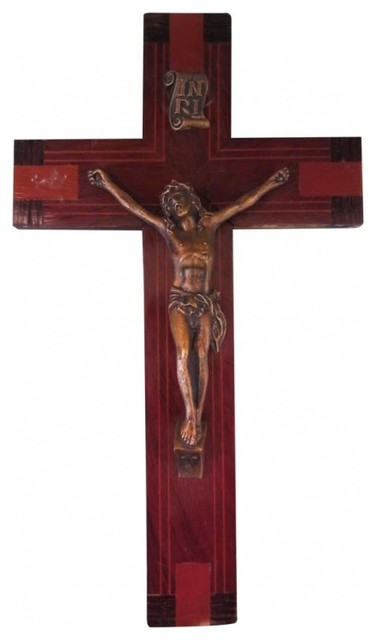 Folksy Inlaid Wood Crucifix eclectic-home-decor