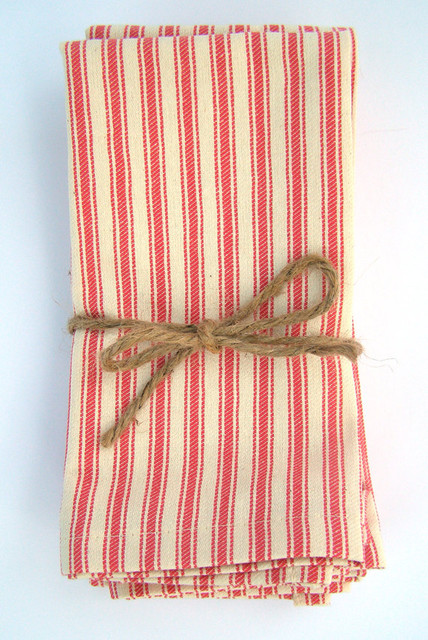 Red French Ticking Cloth Napkins by Un Original Americain traditional table linens