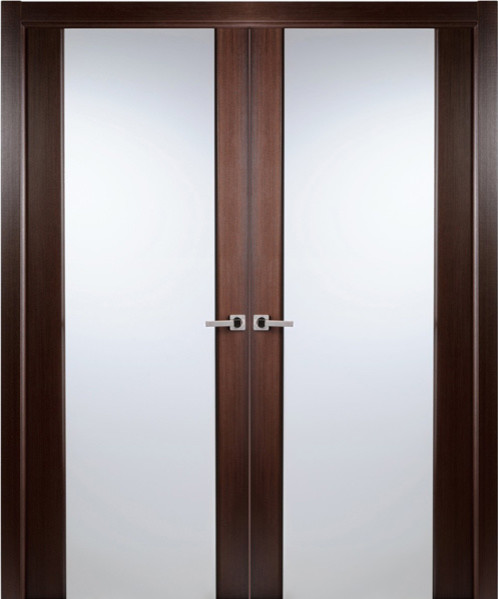 Contemporary african wenge veneer interior double door - Contemporary glass doors interior ...
